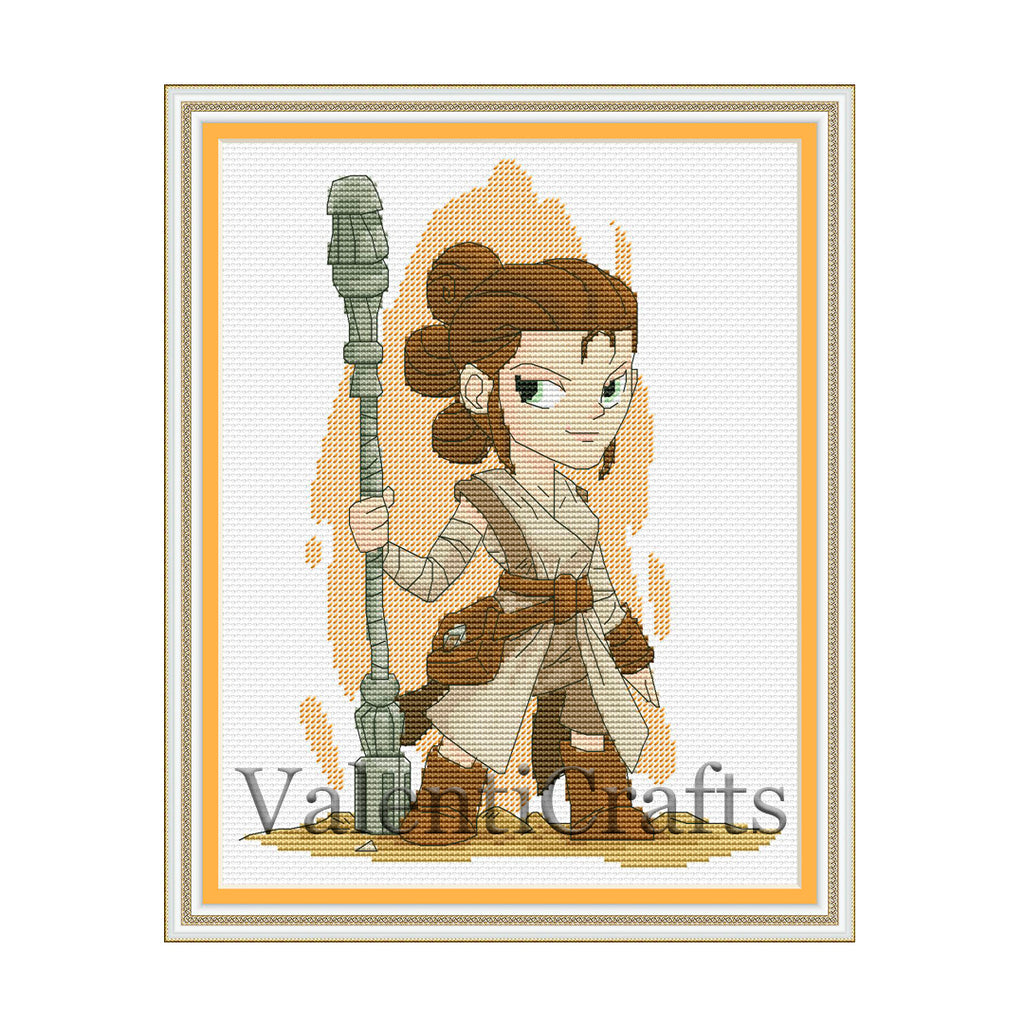 Rey Star Wars Cross Stitch Pattern