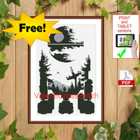 FREE Star Wars Monochrome Cross Stitch Pattern,R2D2