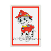 Marshall cross stitch pattern Paw Patrol