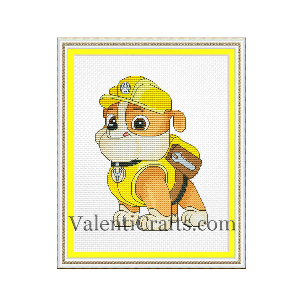 Rubble cross stitch pattern, Paw Patrol