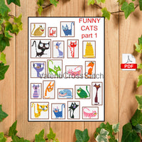20 Funny Cats (part 1) Cross Stitch Patterns