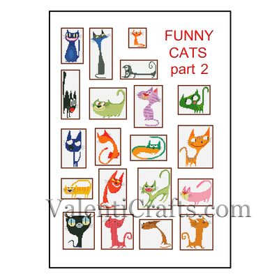 20 Funny Cats (part 2) Cross Stitch Patterns