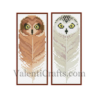 9 Cross stitch patterns bookmarks owls, set