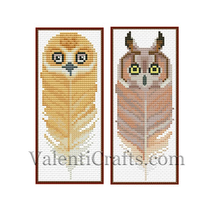 Two Bookmark Owl Set # 2 Cross Stitch Pattern