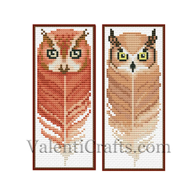 Two Bookmark Owl Set # 3 Cross Stitch Pattern