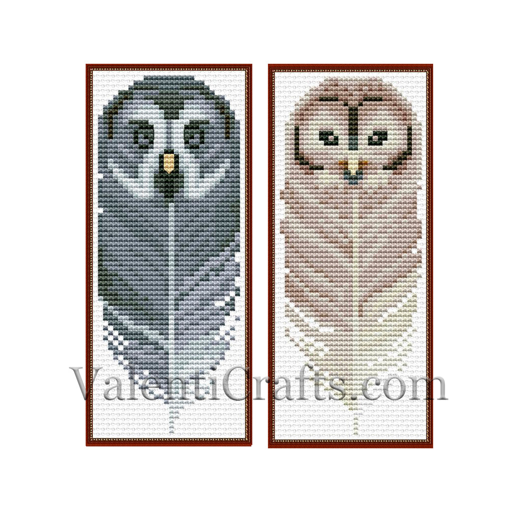 Two Bookmark Owl Set # 4 Cross Stitch Pattern