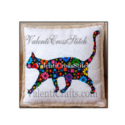 Cat Flower Cross Stitch Pattern