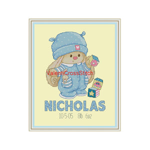 Birth Announcement Boy Cross Stitch Pattern