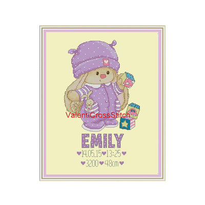 Birth Announcement Boy or Girl Cross Stitch Pattern