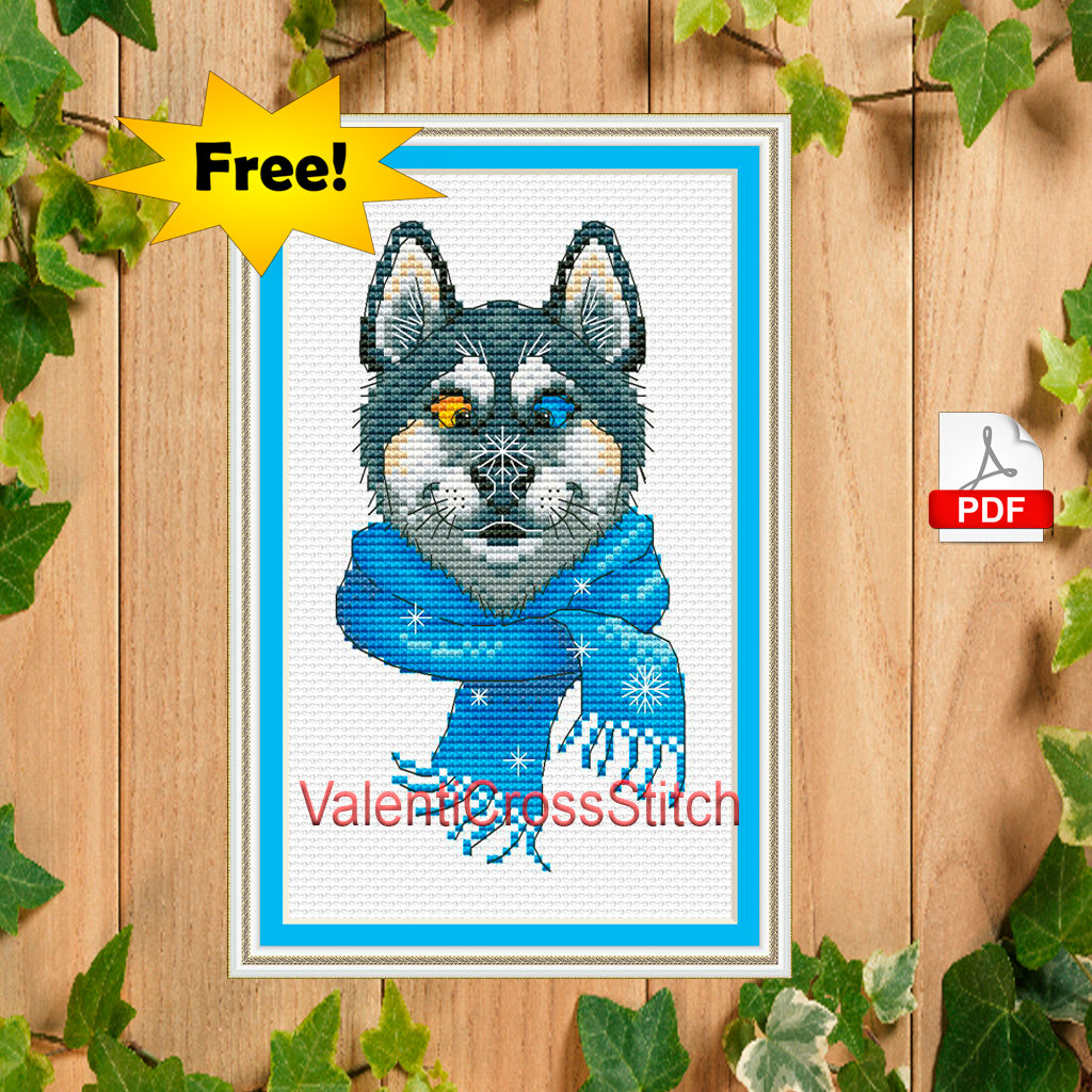 Snowy Dog Cross Stitch Pattern