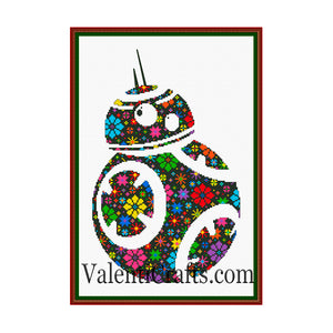 Floral BB 8 Star wars cross stitch pattern