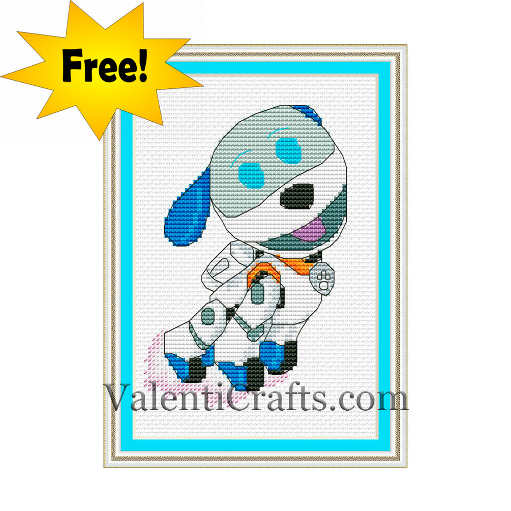 Free Robo Dog Paw Patrol Cross Stitch Pattern