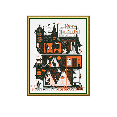 Halloween House Cross Stitch Pattern