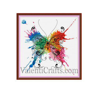 Colored Butterfly Cross Stitch Pattern
