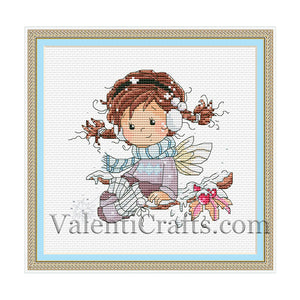 Little fairy winter cross stitch pattern