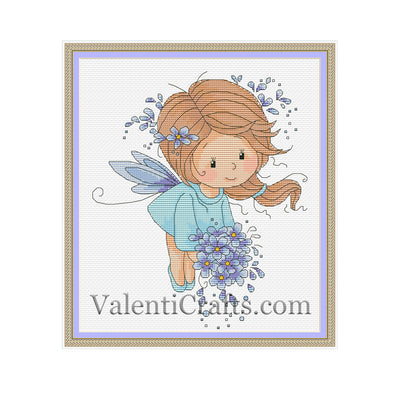 Little fairy in a blue dress cross stitch pattern