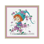 Purple fairy gnome cross stitch pattern