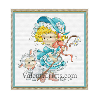 Little fairy with a ship cross stitch pattern