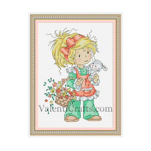 Little girl with easter bunny cross stitch pattern