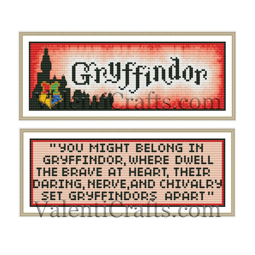 Gryffindor bookmarks cross stitch patterns