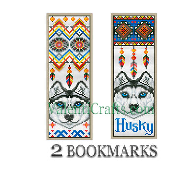 Two Bookmarks Husky Cross Stitch Pattern