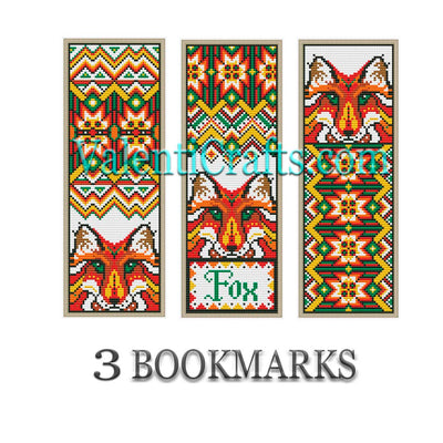 3 Bookmarks Cross Stitch Patterns, Fox
