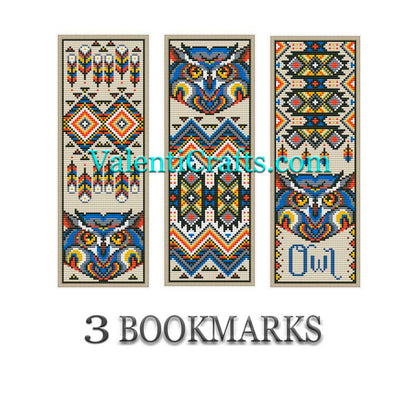 3 Bookmarks Cross Stitch Patterns Owls