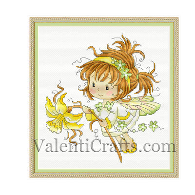 Little fairy with narcissus flower cross stitch pattern