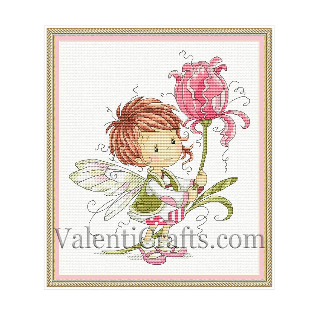 Little fairy with tulip flower cross stitch pattern