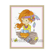 Little girl boho style cross stitch pattern