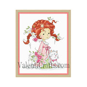 Little girl with roses cross stitch pattern