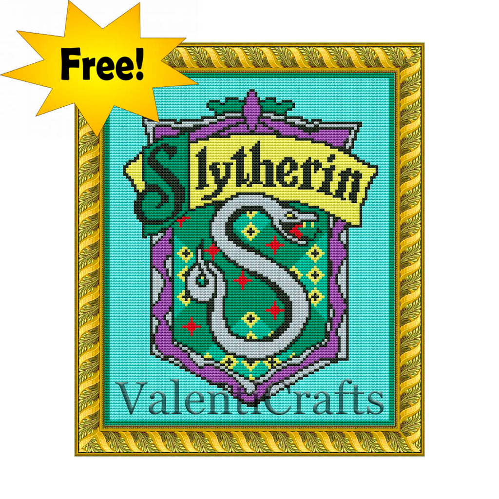 Slytherin Counted Cross Stitch Pattern