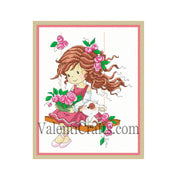 Little girl on a swing cross stitch pattern