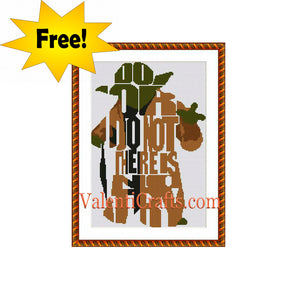 Yoda free cross stitch pattern. Star wars.