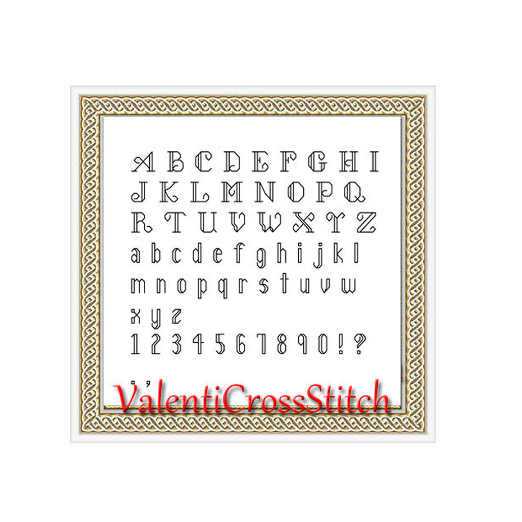 Back stitch alphabet