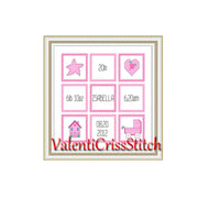 Birth Announcement Baby Girl Cross Stitch Pattern