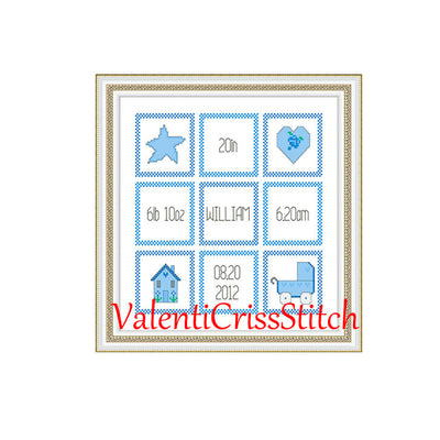 Birth Announcement Baby Boy Cross Stitch Pattern