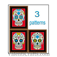 3 Sugar Skulls Cross Stitch Patterns SET