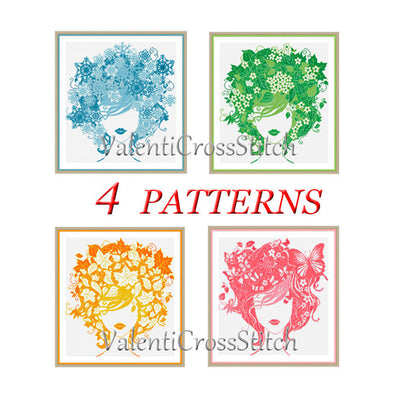 4 Lady Seasons Cross Stitch Patterns SET