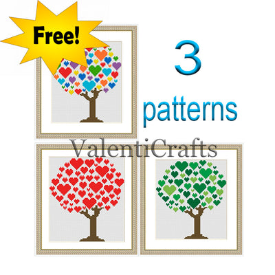 3 Love Tree Free Cross Stitch Patterns SET