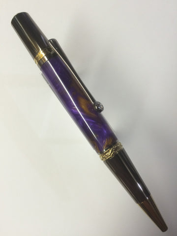 Majestic Squire Premium Series Twist Pen 22kt Gold & Black T/N In Pearl Purple & Gold