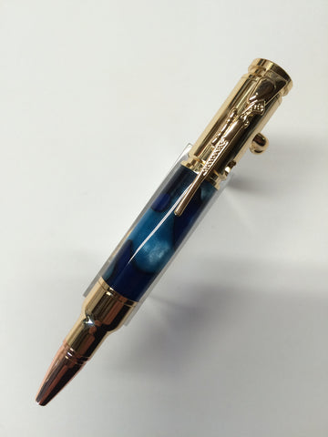 Mini .30 Caliber Bolt Action Pen Gold In Sapphire Blue Silk