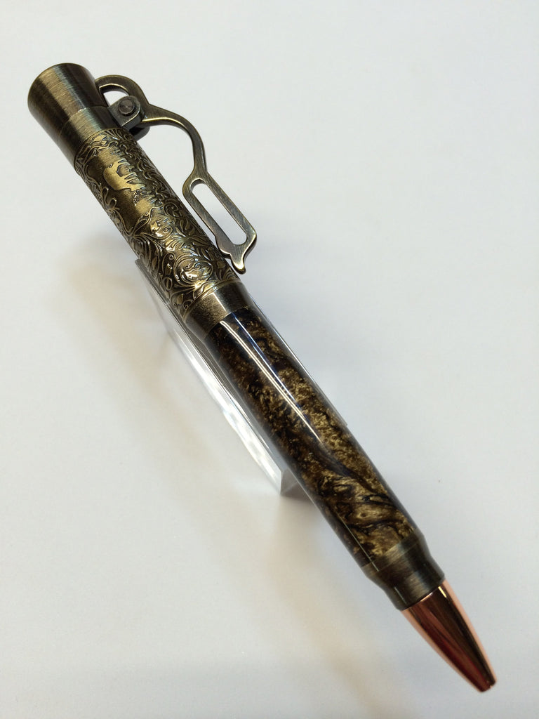 Lever Action Pen Antique Brass Black & Gold Swirl