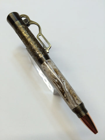Lever Action Pen Antique Brass In White & Gold Swirl