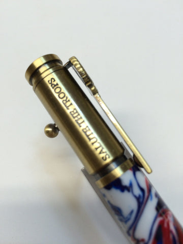 Patriotic Bold Action Pen Brass With Red, White & Blue