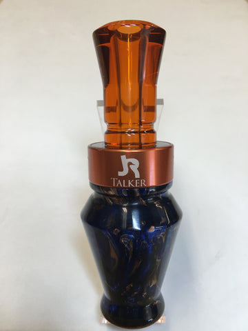 Premium Duck Call Pearl Blue & Copper with Copper Tip
