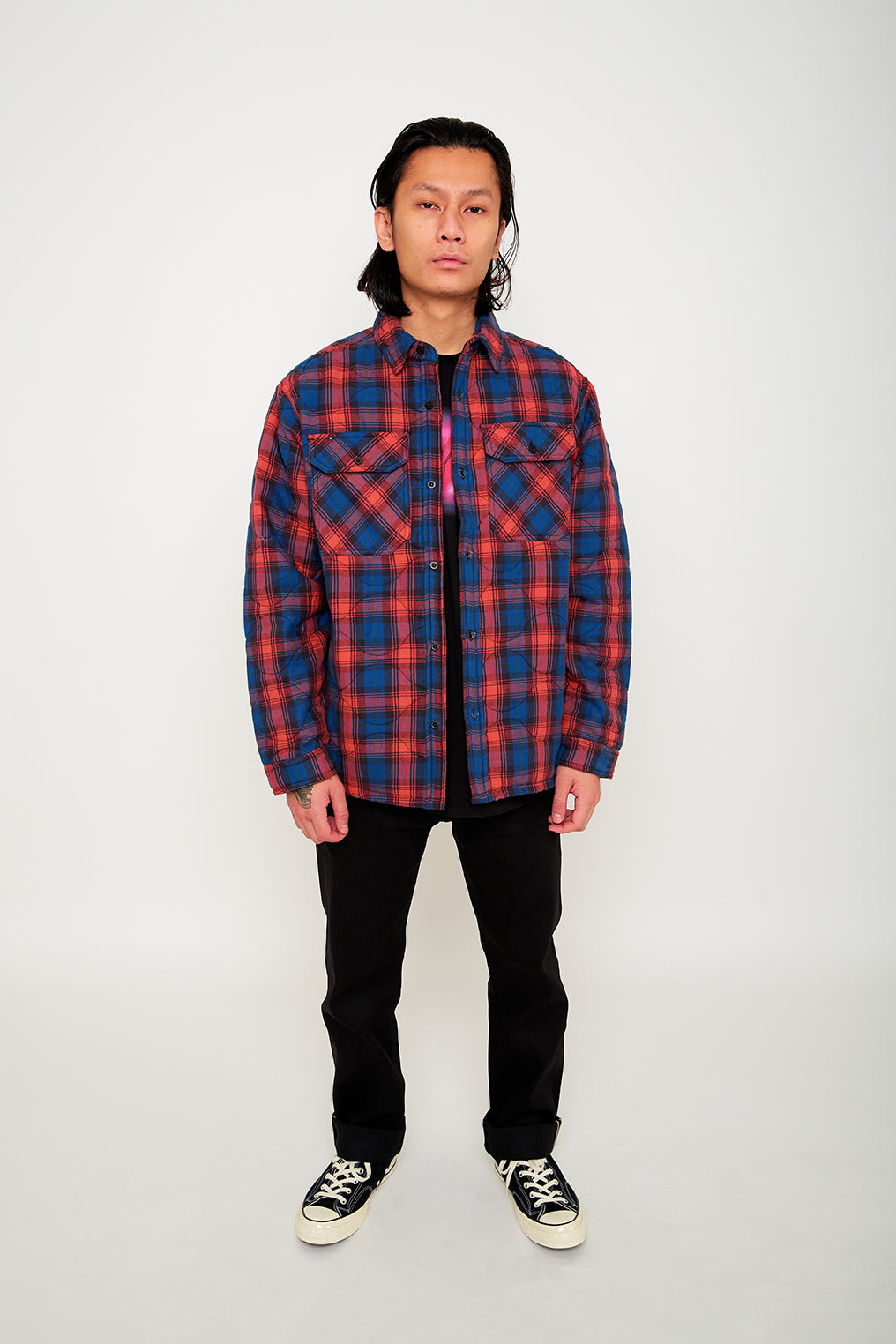 QUILTED PLAID BUTTON-UP