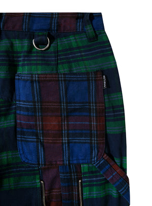 PLAID CARPENTER BONDAGE PANTS