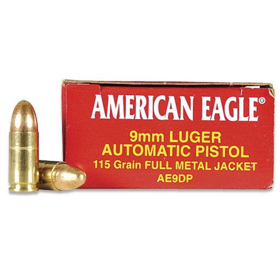 American Eagle 9MM 115 Grain FMJ Ammunition AE9DP