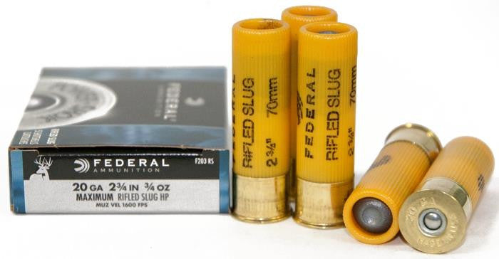 Federal Power-Shok 20 Gauge 2-3/4in. Rifled Slug Lead F203RS